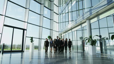 stock-footage-portrait-of-a-diverse-group-of-business-people-walking-through-a-light-and-modern-glass-fronted